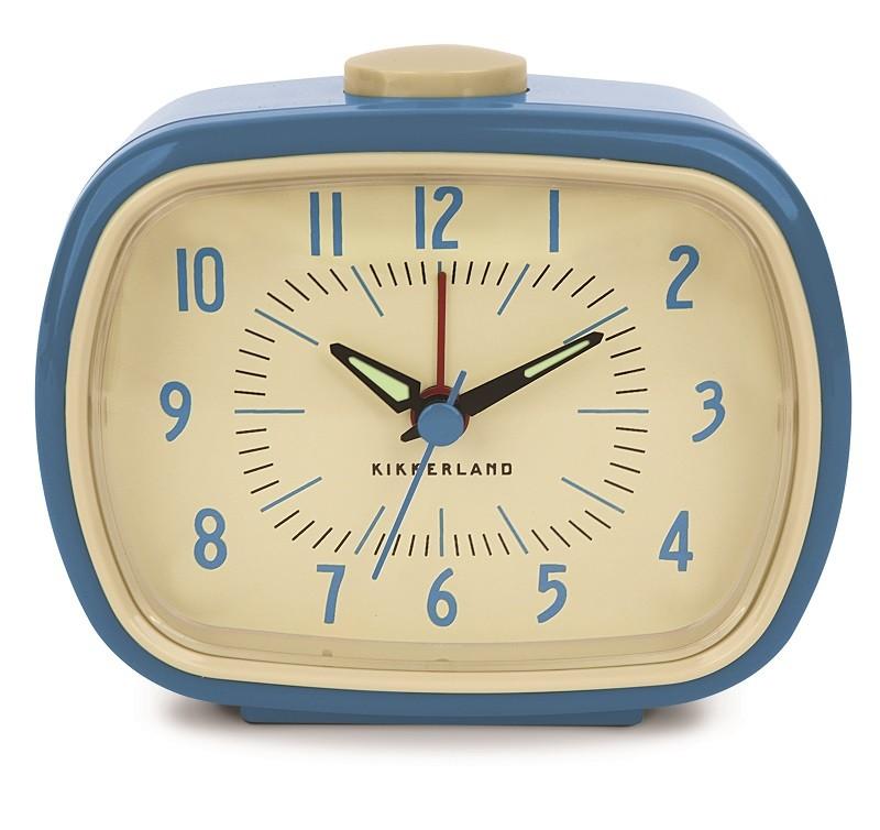 kikkerland wecker retro alarm clock blau drinnen auf dem nachttisch. Black Bedroom Furniture Sets. Home Design Ideas