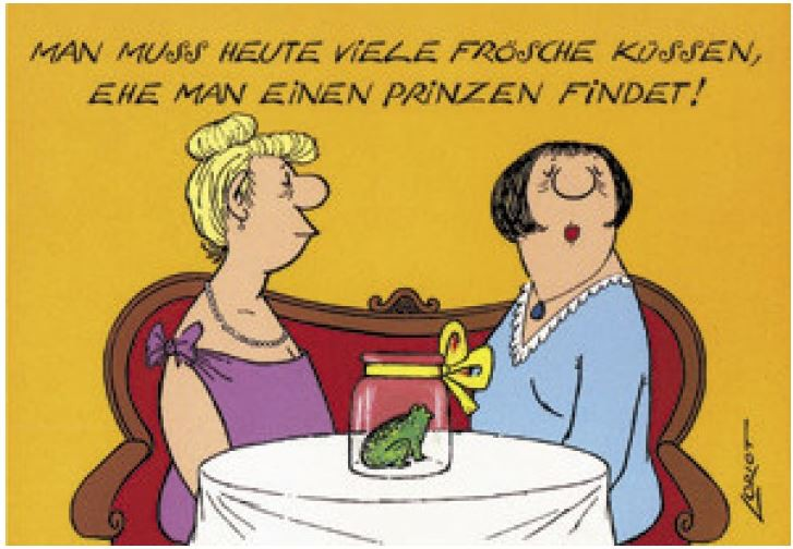 Loriot Postkarte - Frösche küssen Buchwaren & Papeterie Postkarten Verschiedene Motive